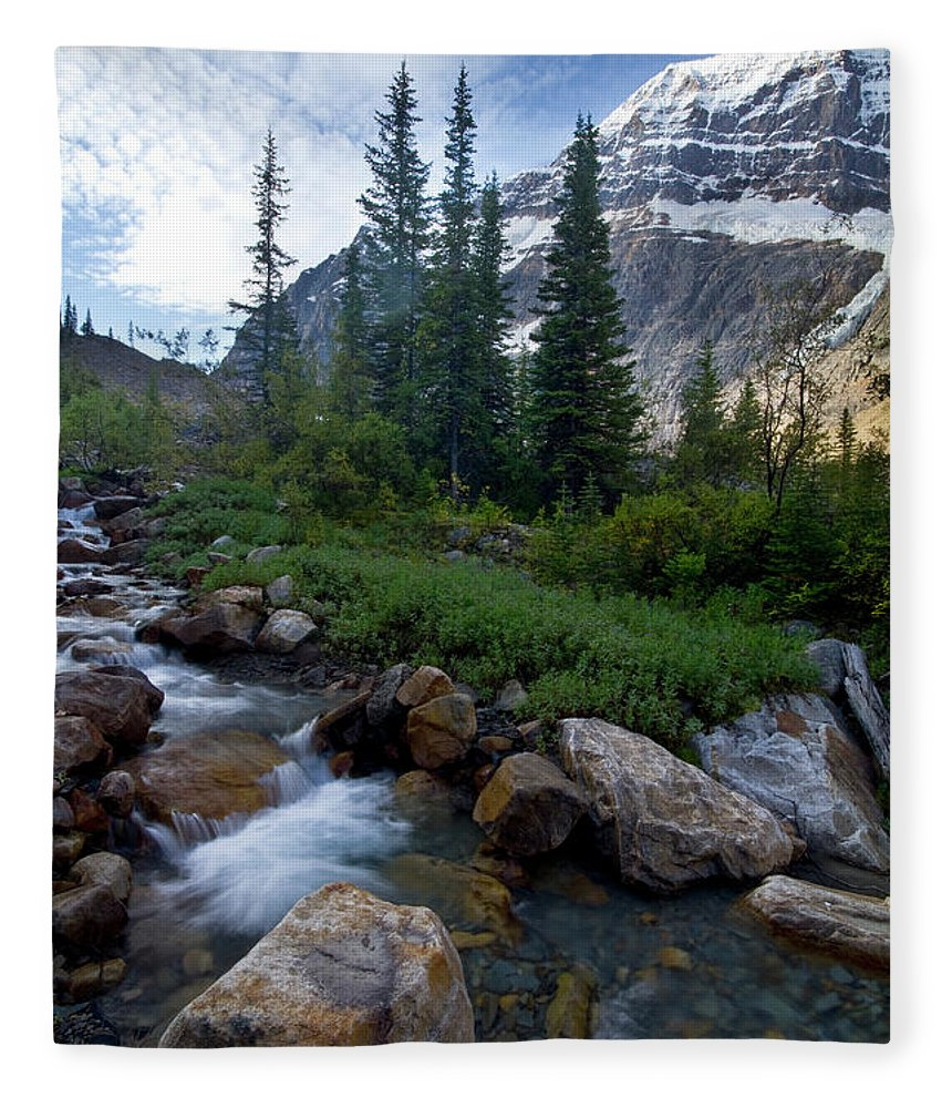 Tranquility Fleece Blanket featuring the photograph Mount Edith Cavell by Visit Www.ronmiller.com