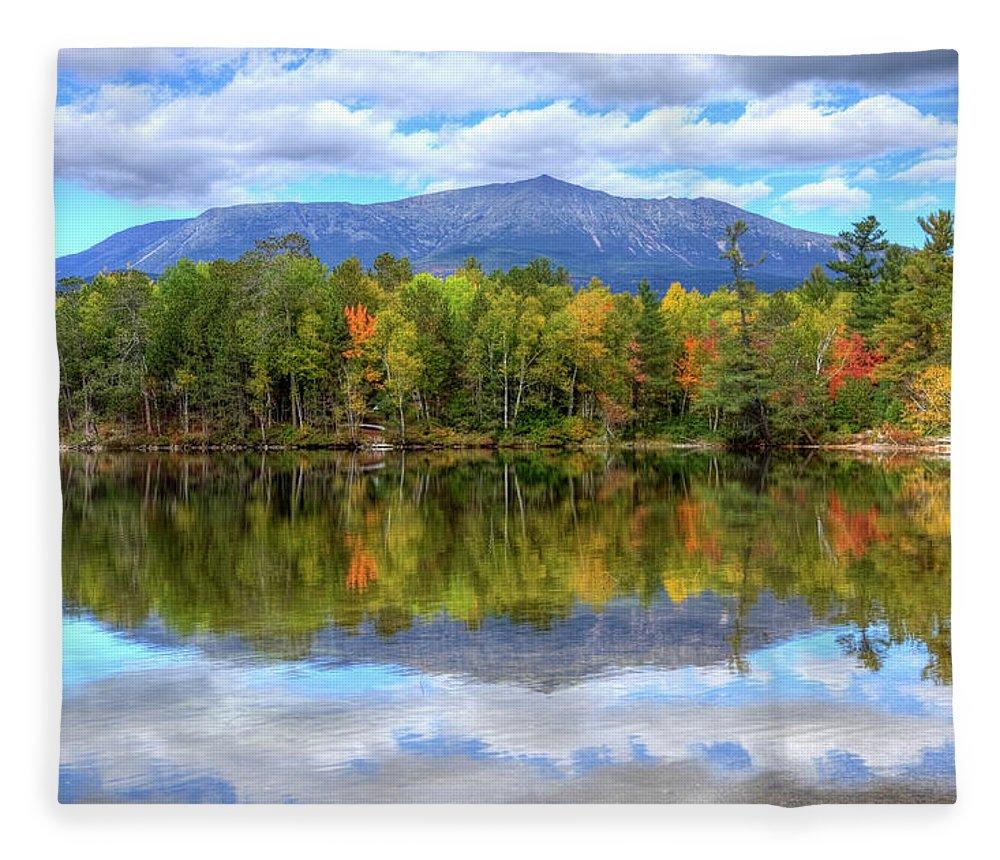 Scenics Fleece Blanket featuring the photograph Mount Katahdin by Denistangneyjr