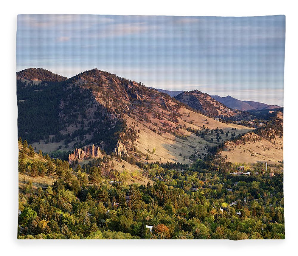 Scenics Fleece Blanket featuring the photograph Mount Sanitas And Fall Colors In by Beklaus