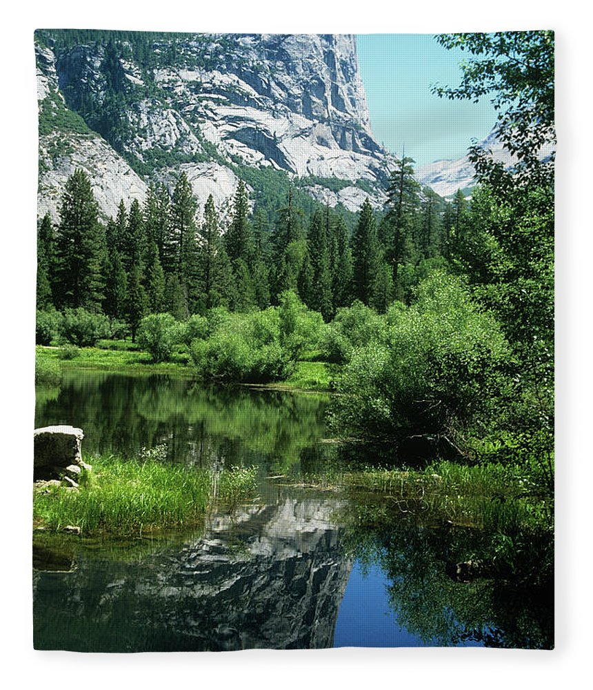 Scenics Fleece Blanket featuring the photograph Mount Watkins And Mirror Lake by Moodboard