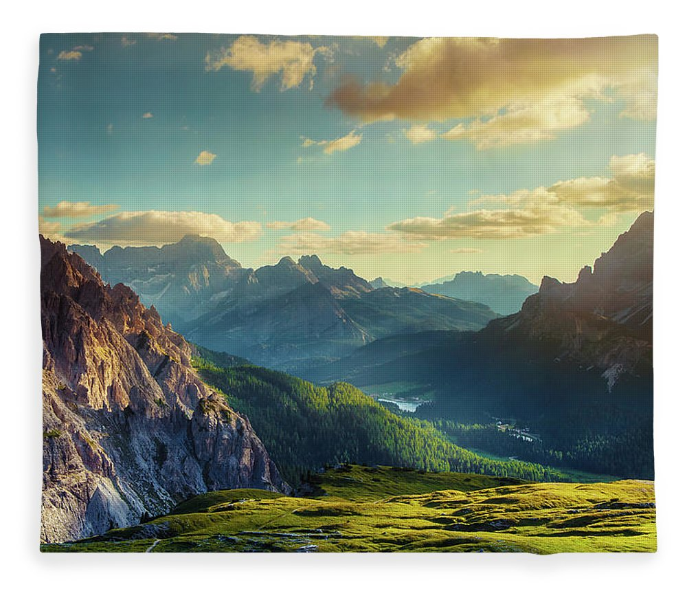 Belluno Fleece Blanket featuring the photograph Mountains And Valley At Sunset by Mammuth