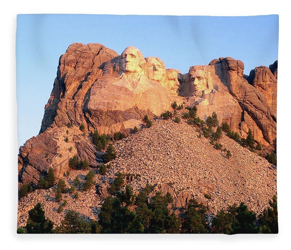 Mt Rushmore National Monument Fleece Blanket featuring the photograph Mt Rushmore Memorial Carvings by John Elk