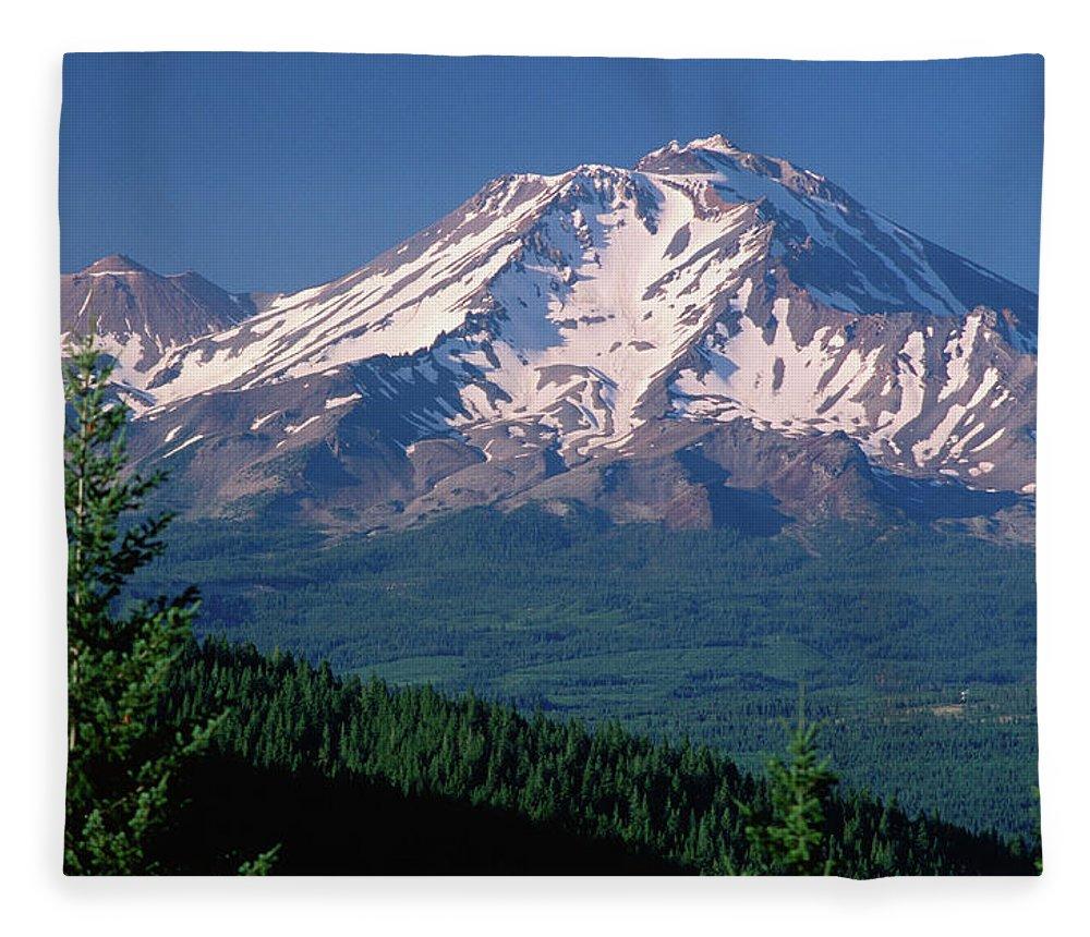 Toughness Fleece Blanket featuring the photograph Mt Shasta Across Lake Siskiyou, Mt by John Elk Iii