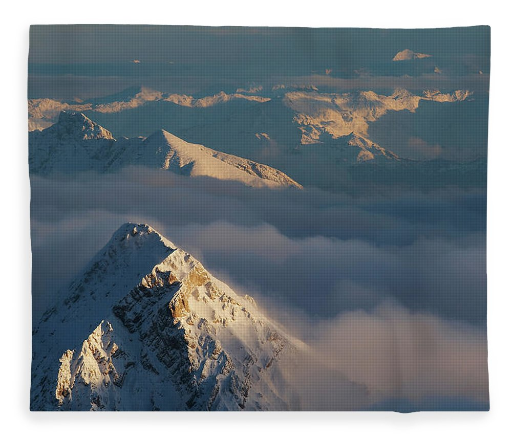 Scenics Fleece Blanket featuring the photograph Mt. Zugspitze 6 - Bavaria Germany by Wingmar