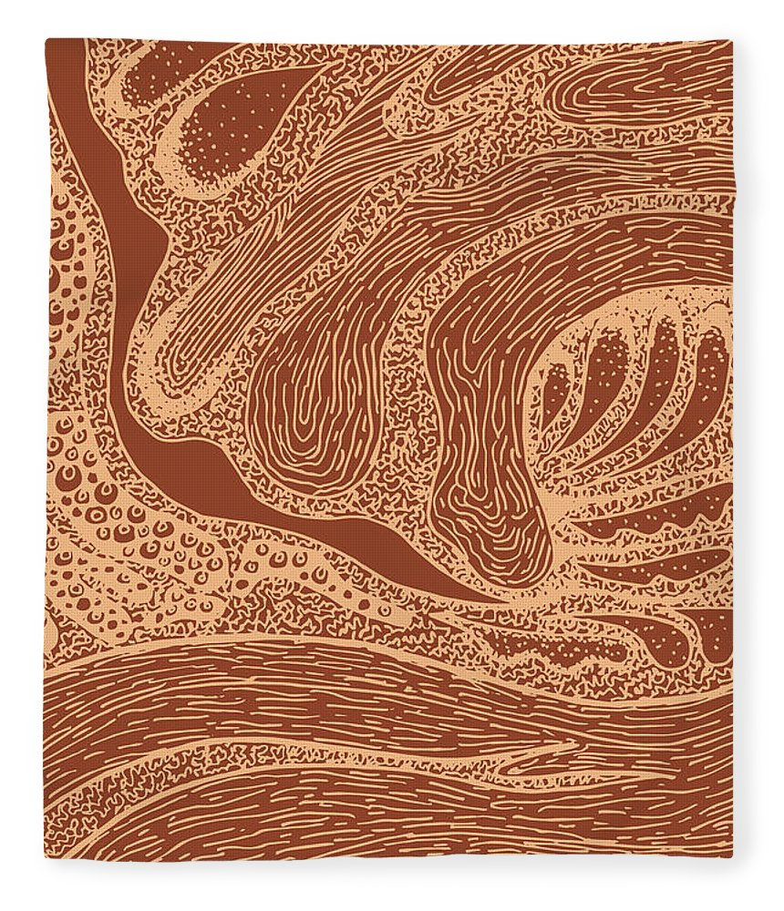 Abstract Lines Fleece Blanket featuring the mixed media Mud Wave 2 - Abstract Lines - Terracotta Abstract - Modern, Contemporary Print - Brown, Burnt Orange by Studio Grafiikka