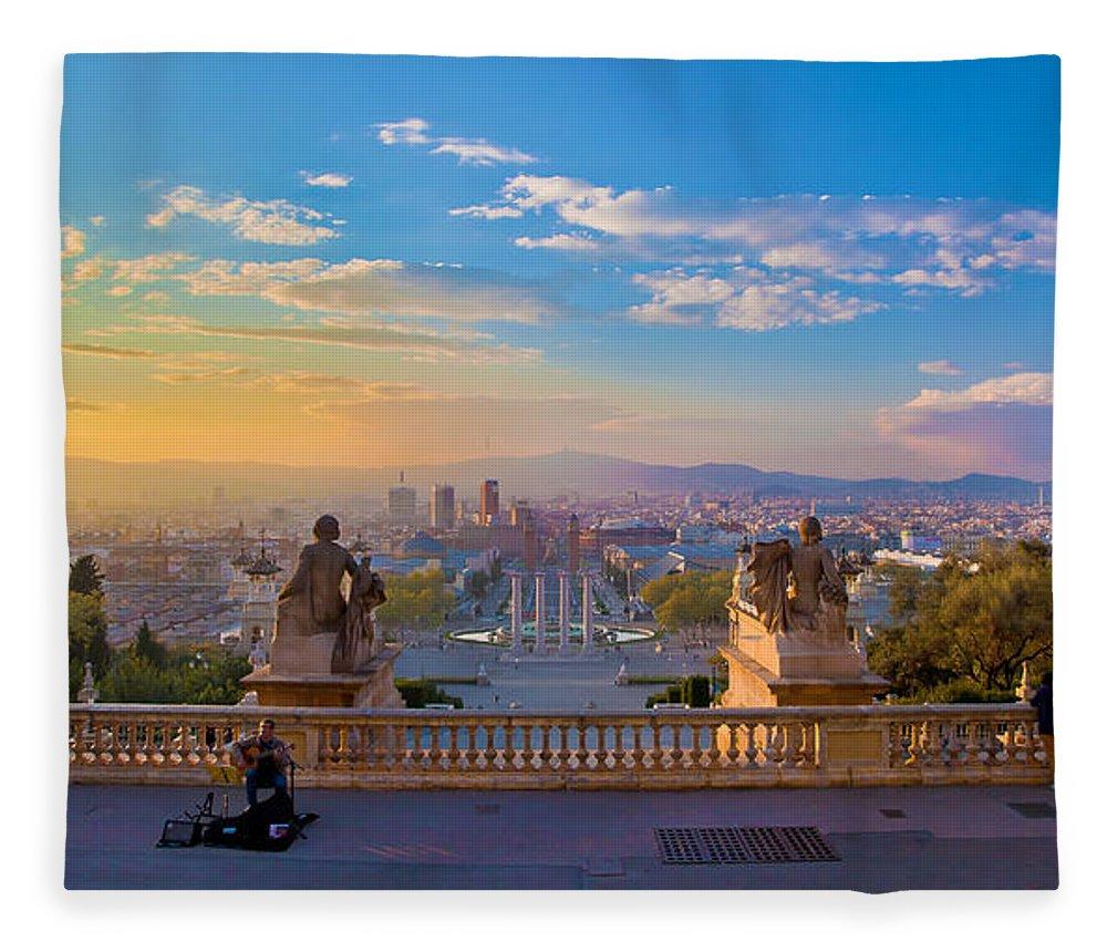 People Fleece Blanket featuring the photograph Museu Nacional Dart De Catalunya by Albert Photo