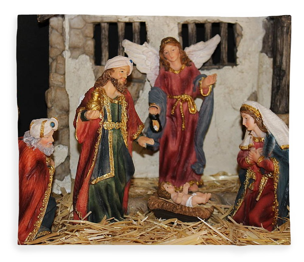 Christmas Nativity Scene Fleece Blanket featuring the photograph My German Traditions - Christmas Nativity Scene by Colleen Cornelius