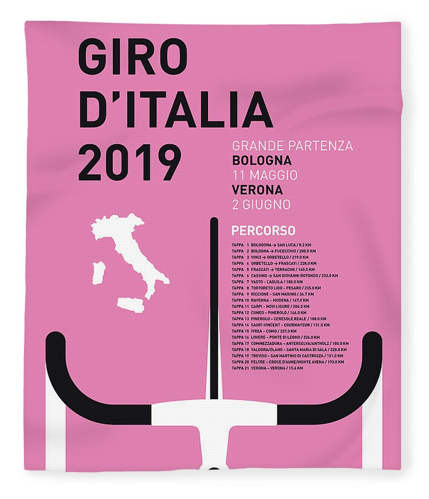 2019 Fleece Blanket featuring the digital art My Giro Ditalia Minimal Poster 2019 by Chungkong Art