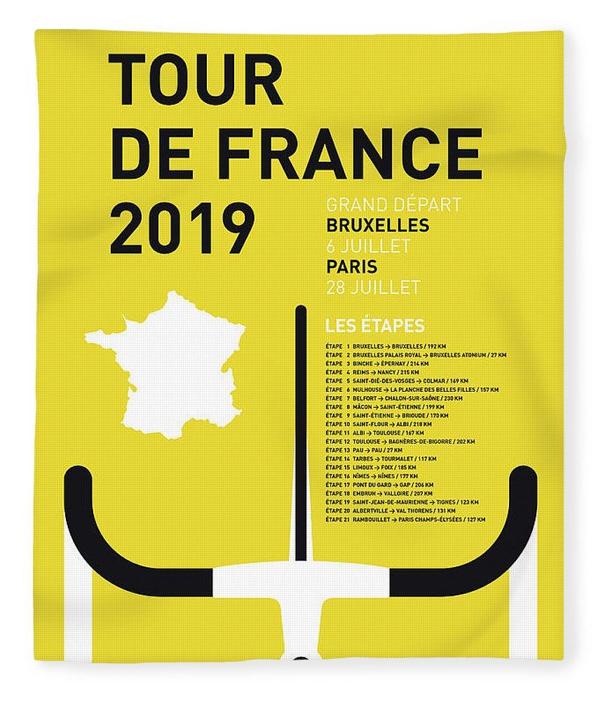 2019 Fleece Blanket featuring the digital art My Tour De France Minimal Poster 2019 by Chungkong Art