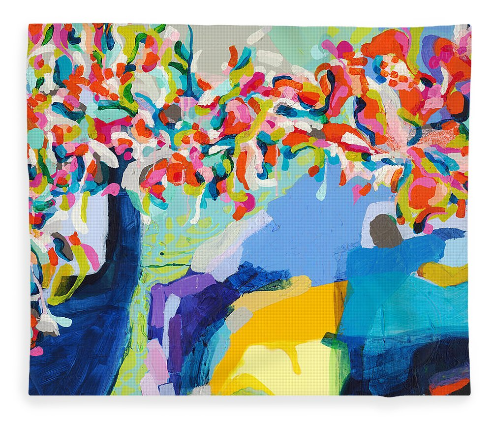 Abstract Fleece Blanket featuring the painting My Vanity by Claire Desjardins