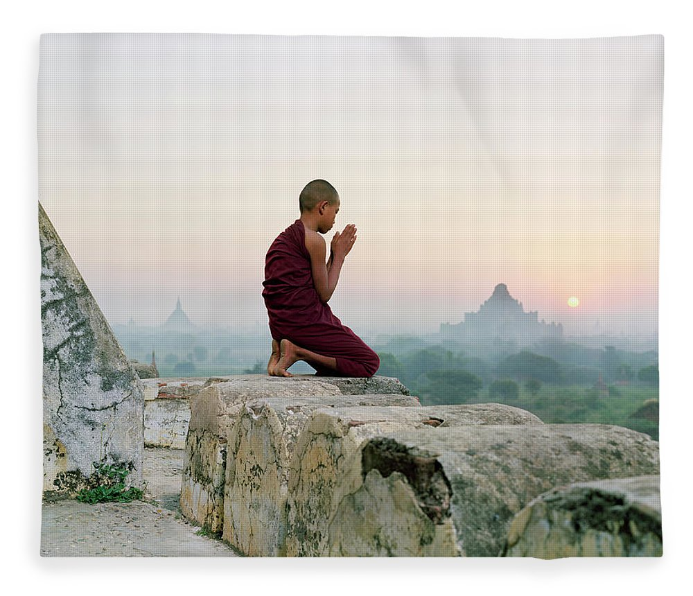 Child Fleece Blanket featuring the photograph Myanmar, Bagan, Buddhist Monk Praying by Martin Puddy