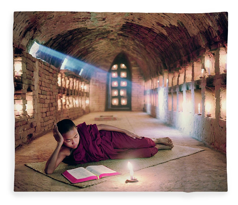 Child Fleece Blanket featuring the photograph Myanmar, Buddhist Monk Inside by Martin Puddy