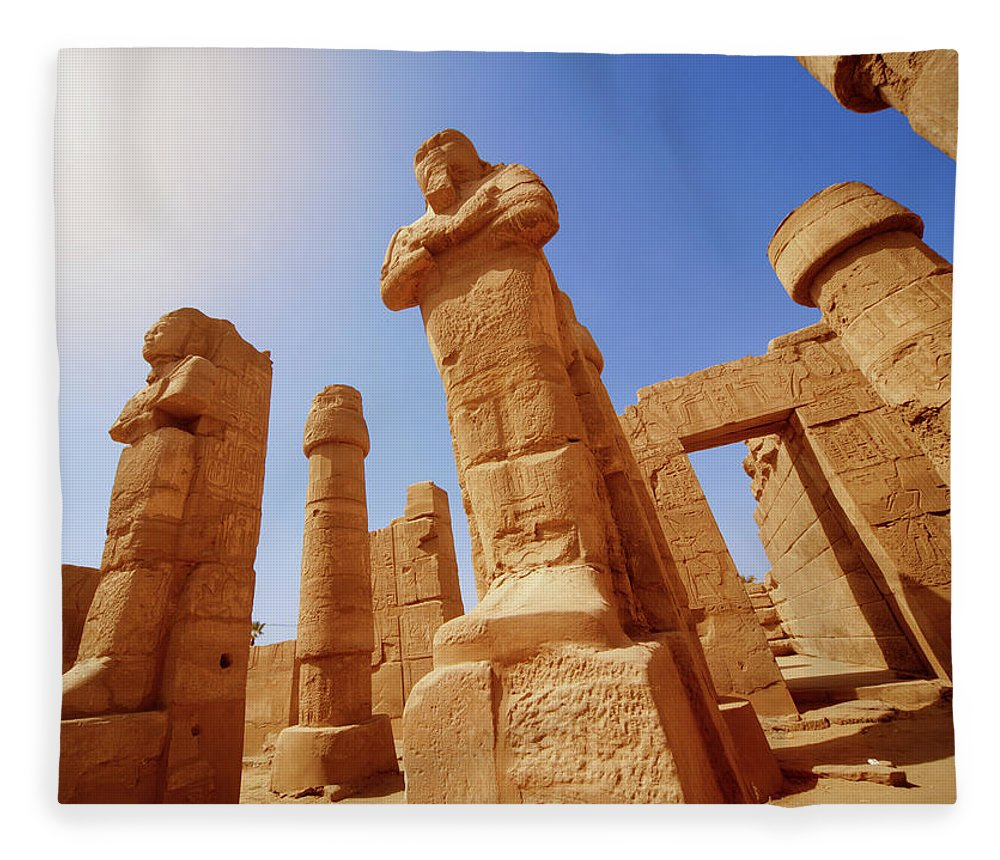 Art Fleece Blanket featuring the photograph Mysterious Ancient Temple Ruins In Egypt by Fds111