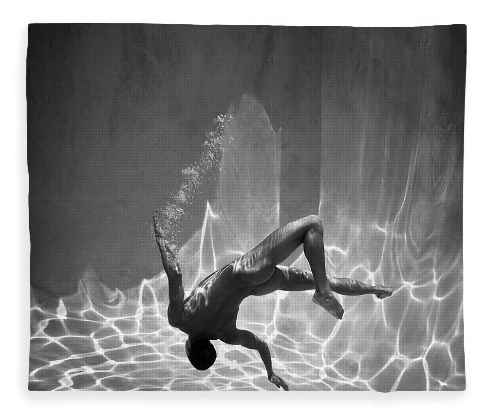 Underwater Fleece Blanket featuring the photograph Naked Man Underwater by Ed Freeman