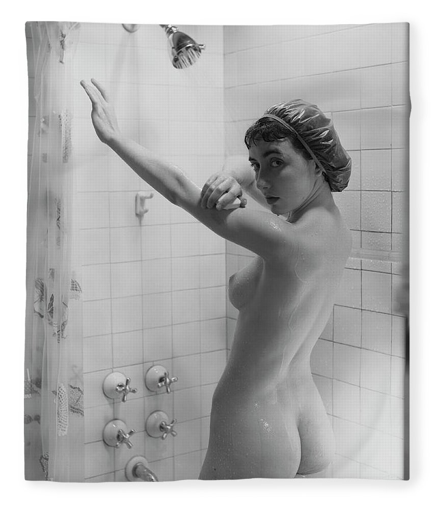 Looking Over Shoulder Fleece Blanket featuring the photograph Naked Woman Showering by George Marks
