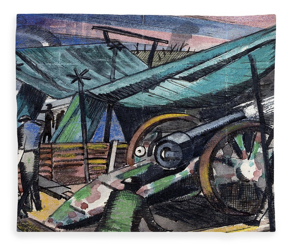B1019 Fleece Blanket featuring the painting A Howitzer Firing, 1918 by Paul Nash