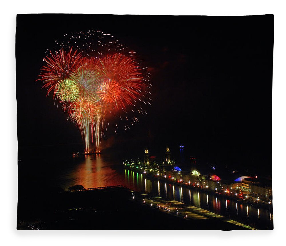Firework Display Fleece Blanket featuring the photograph Navy Pier Fireworks by Image By Douglas R. Siefken