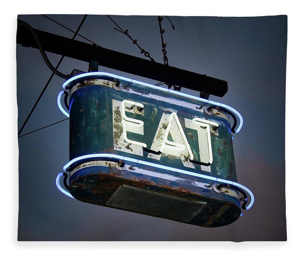Hanging Fleece Blanket featuring the photograph Neon Eat Sign by Kjohansen