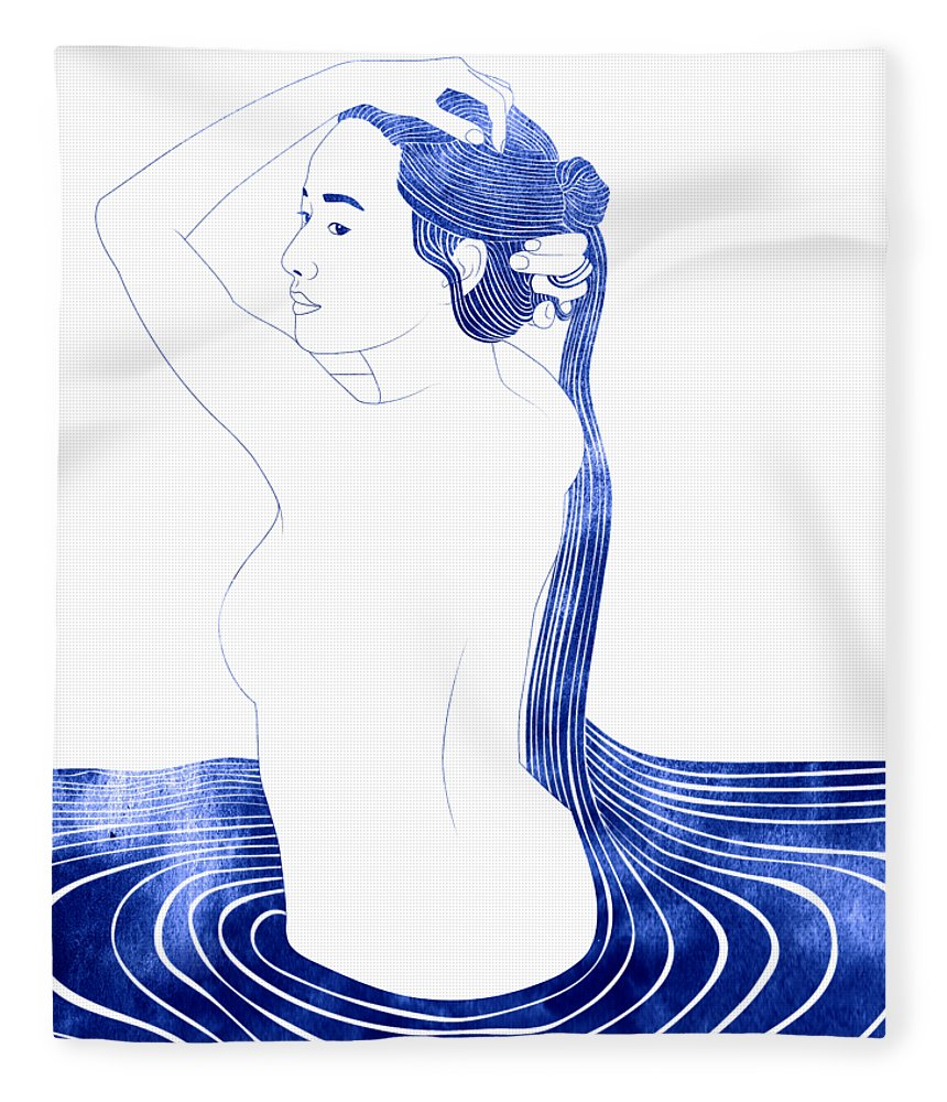 Fleece Blanket featuring the mixed media Nesaie by Stevyn Llewellyn