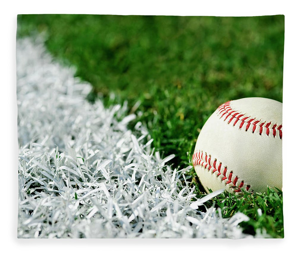 Grass Fleece Blanket featuring the photograph New Baseball Along Foul Line by Cmannphoto