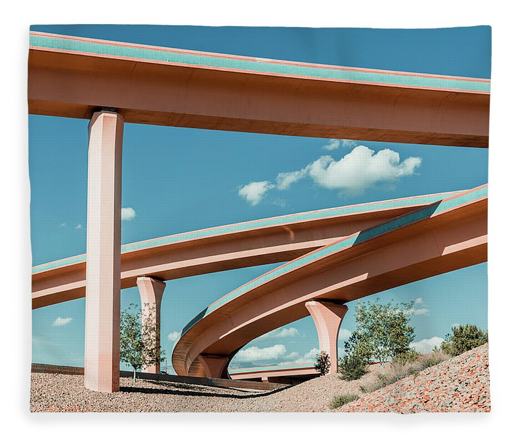 Autobahn Fleece Blanket featuring the photograph New Mexico Albuquerque Interstate by Mlenny