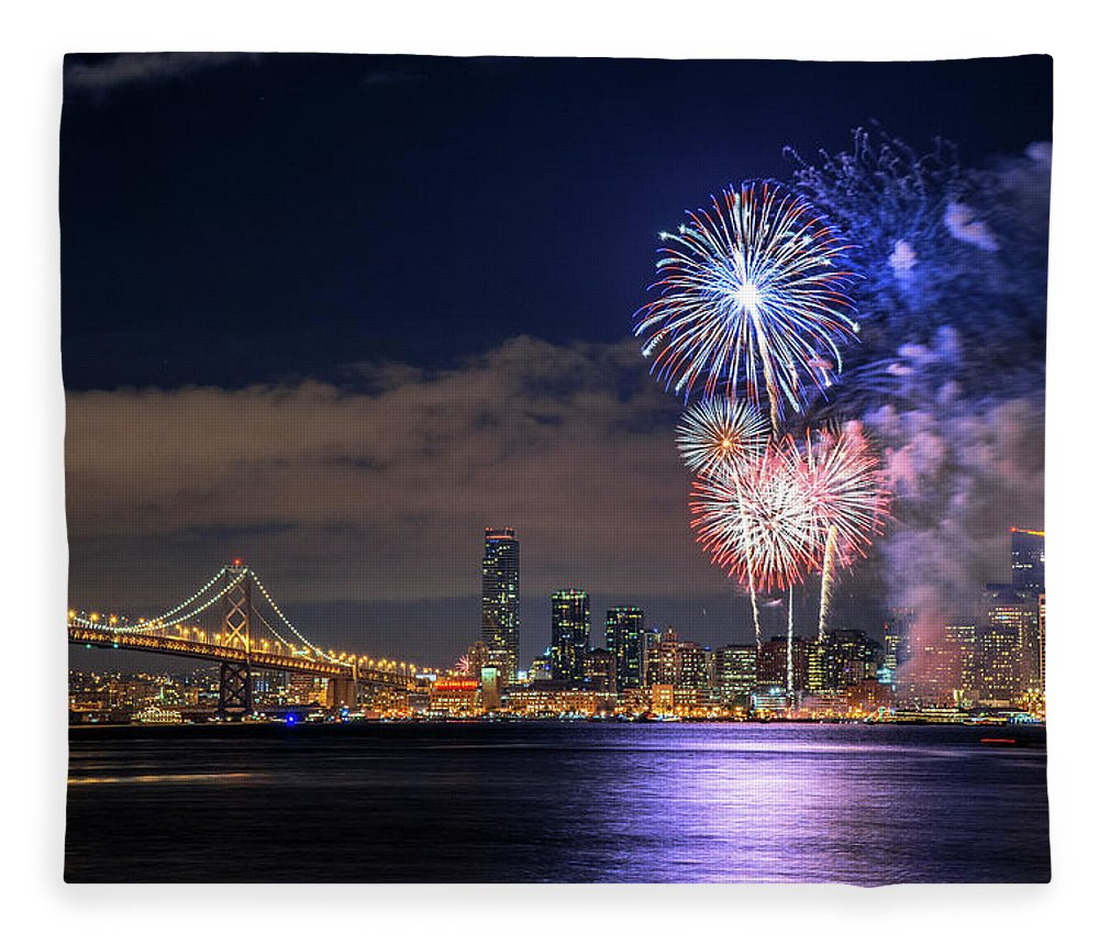 Firework Display Fleece Blanket featuring the photograph New Year Fireworks by Piriya Photography