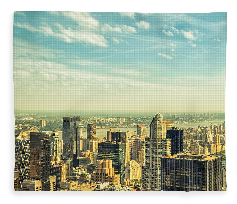 Lower Manhattan Fleece Blanket featuring the photograph New York City Skyline With Central Park by Franckreporter