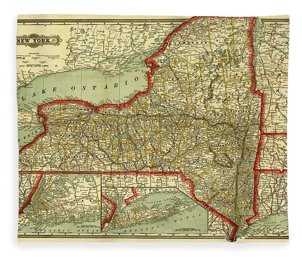 White Background Fleece Blanket featuring the digital art New York State Old Map by Nicoolay