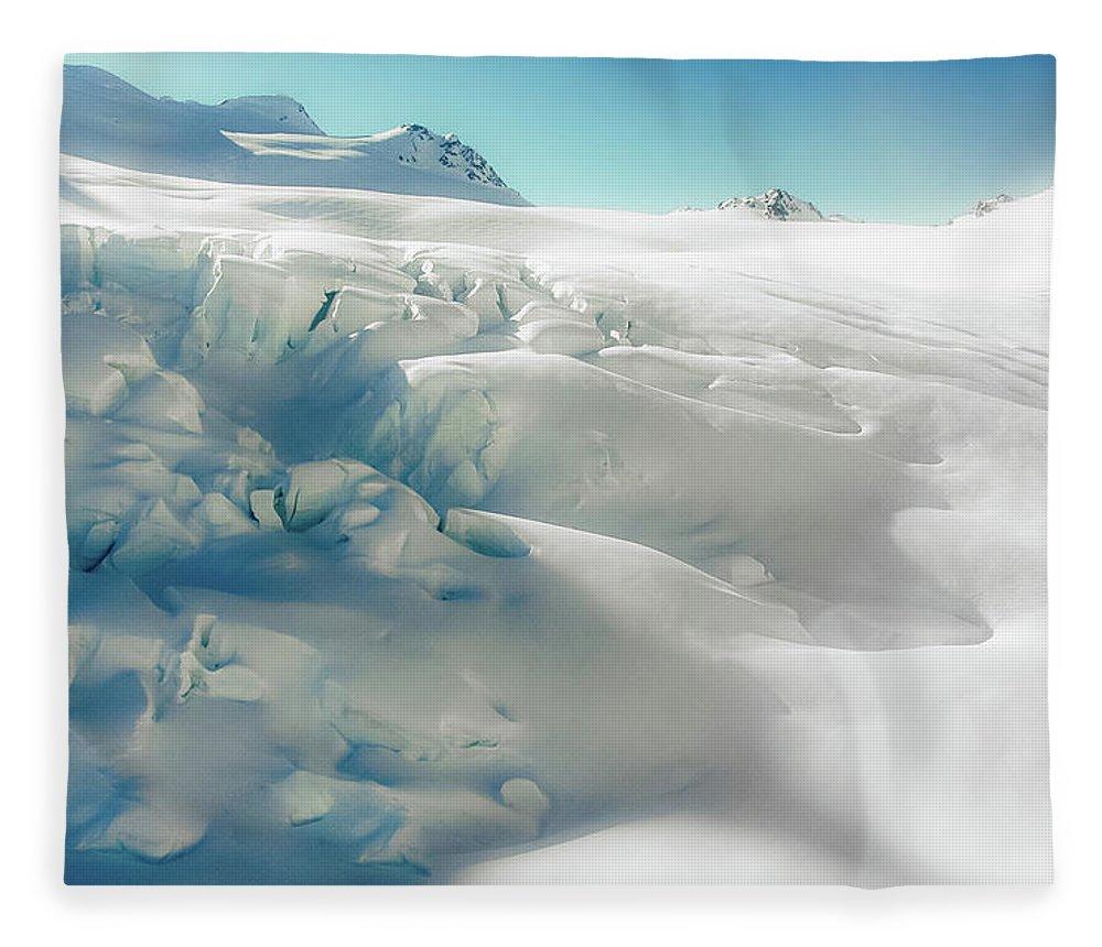 Cold Temperature Fleece Blanket featuring the photograph New Zealand - Dreamy Glacier Landscape by Agnieszka Bachfischer