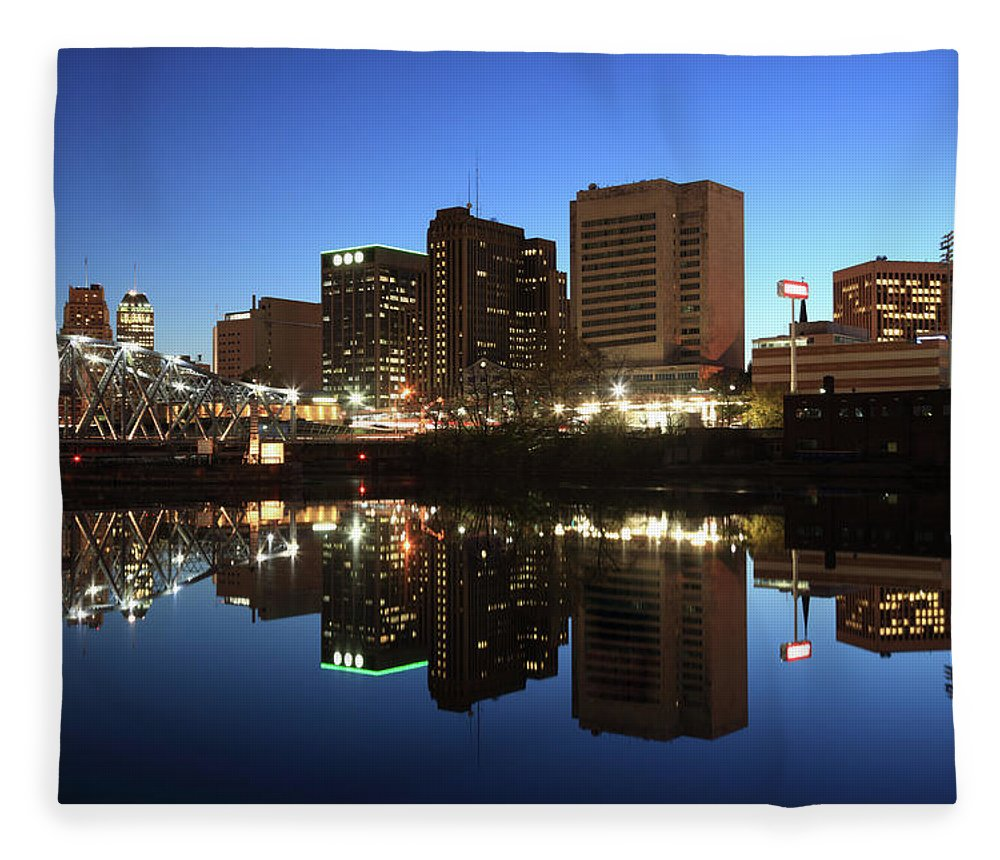 Clear Sky Fleece Blanket featuring the photograph Newark, New Jersey by Jumper
