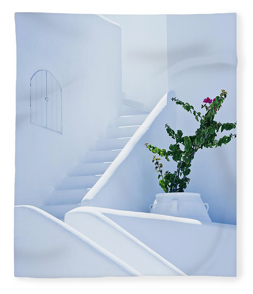 Steps Fleece Blanket featuring the photograph Nice White Stairs In Oia Village by Mbbirdy