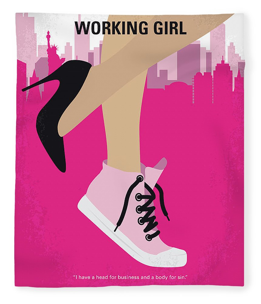 Working Fleece Blanket featuring the digital art No987 My Working Girl Minimal Movie Poster by Chungkong Art