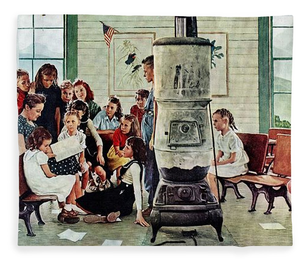 Book Fleece Blanket featuring the drawing Norman Rockwell Visits A Country School by Norman Rockwell