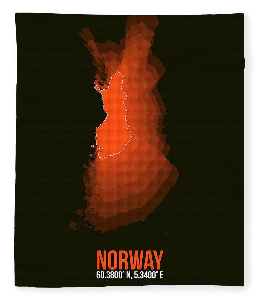 Map Of Norway Fleece Blanket featuring the digital art Norway Radiant Map I by Naxart Studio