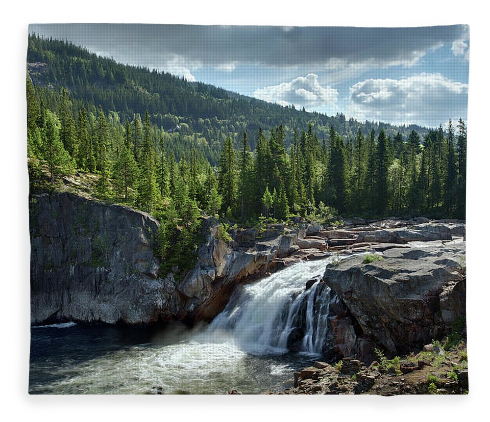 Scenics Fleece Blanket featuring the photograph Norway Waterfall by Ralph Oechsle