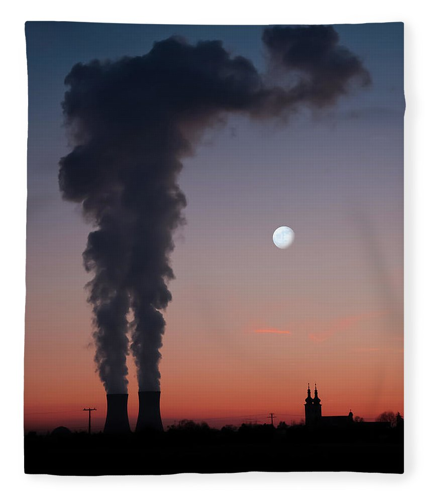 Air Pollution Fleece Blanket featuring the photograph Nuclear Power Station In Bavaria by Michael Kohaupt