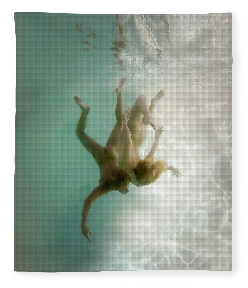 Young Men Fleece Blanket featuring the photograph Nude Man And Woman Underwater by Ed Freeman