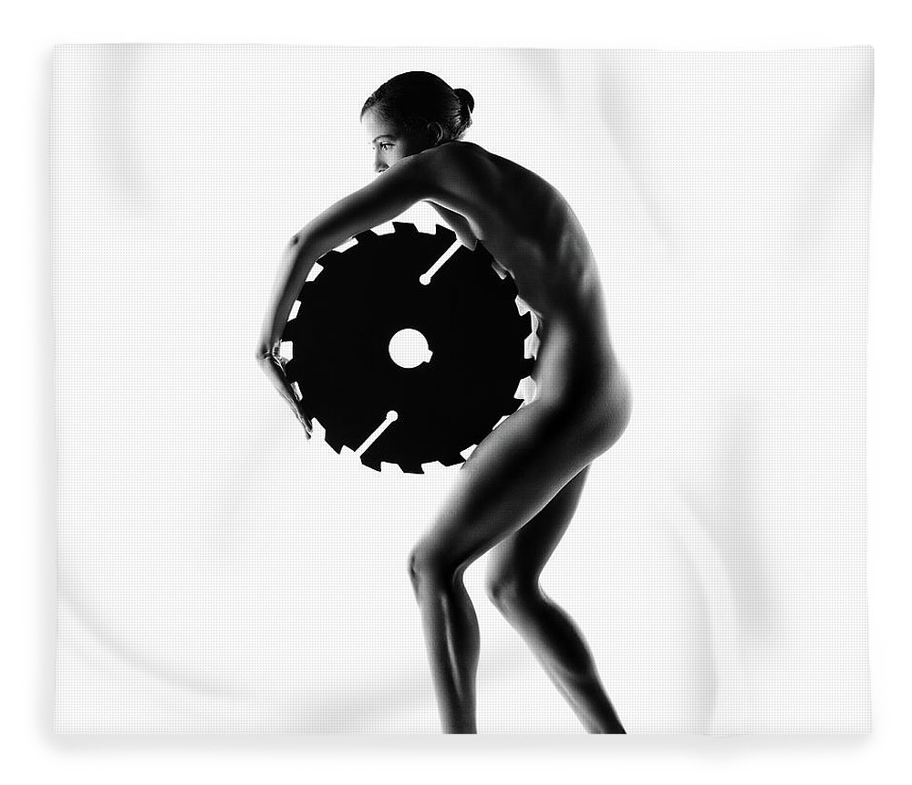 Woman Fleece Blanket featuring the photograph Nude Woman With Saw Blade 1 by Johan Swanepoel