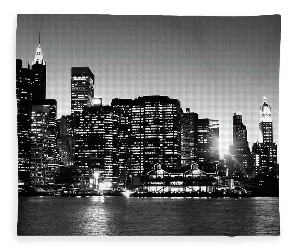 Lower Manhattan Fleece Blanket featuring the photograph Nyc Skyline At Sunset by Lisa-blue