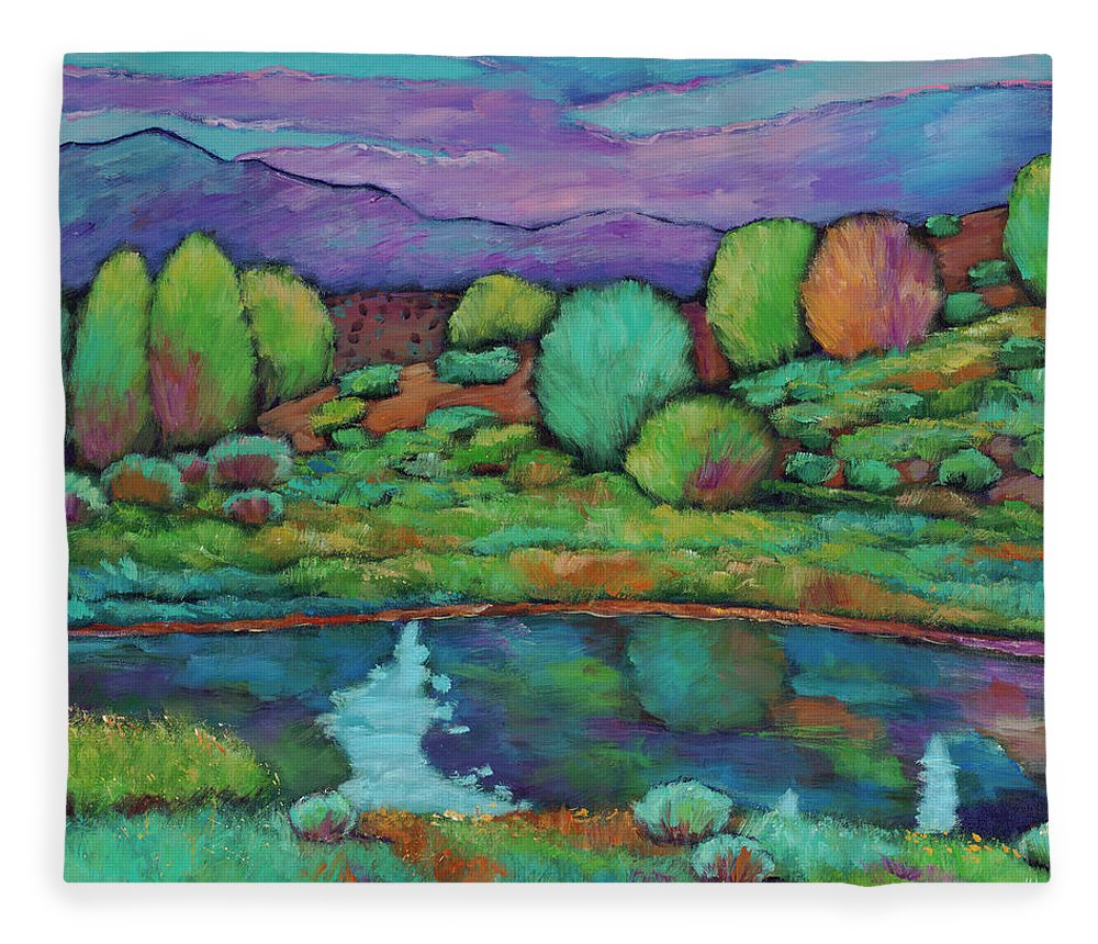 New Mexico Fleece Blanket featuring the painting Oasis by Johnathan Harris