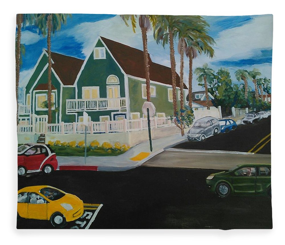 Painting Fleece Blanket featuring the painting OB House by Andrew Johnson