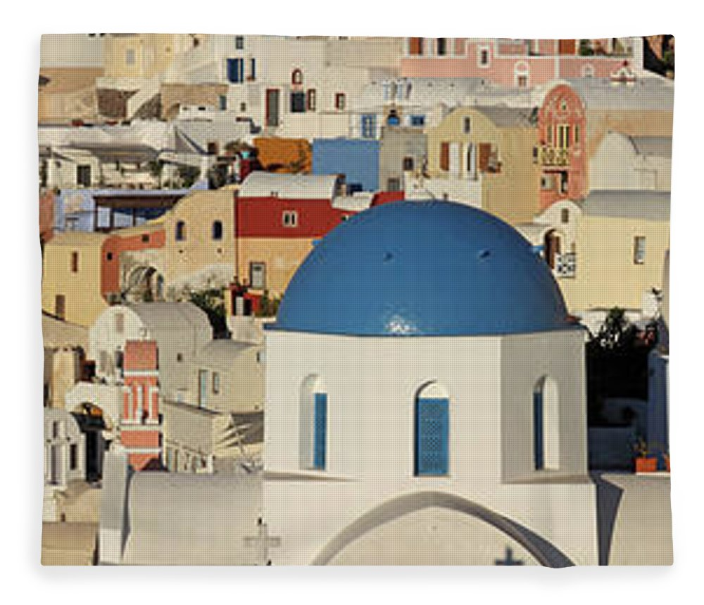 Tranquility Fleece Blanket featuring the photograph Oia Architecture by Sandra Kreuzinger