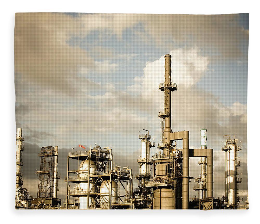 Air Pollution Fleece Blanket featuring the photograph Oil Refinery by Halbergman