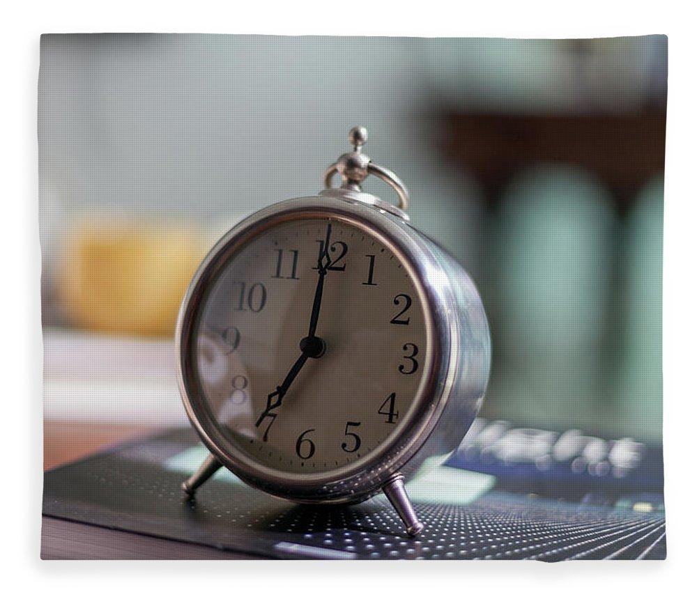 Madrid Fleece Blanket featuring the photograph Old Alarm Clock by Julio Lopez Saguar