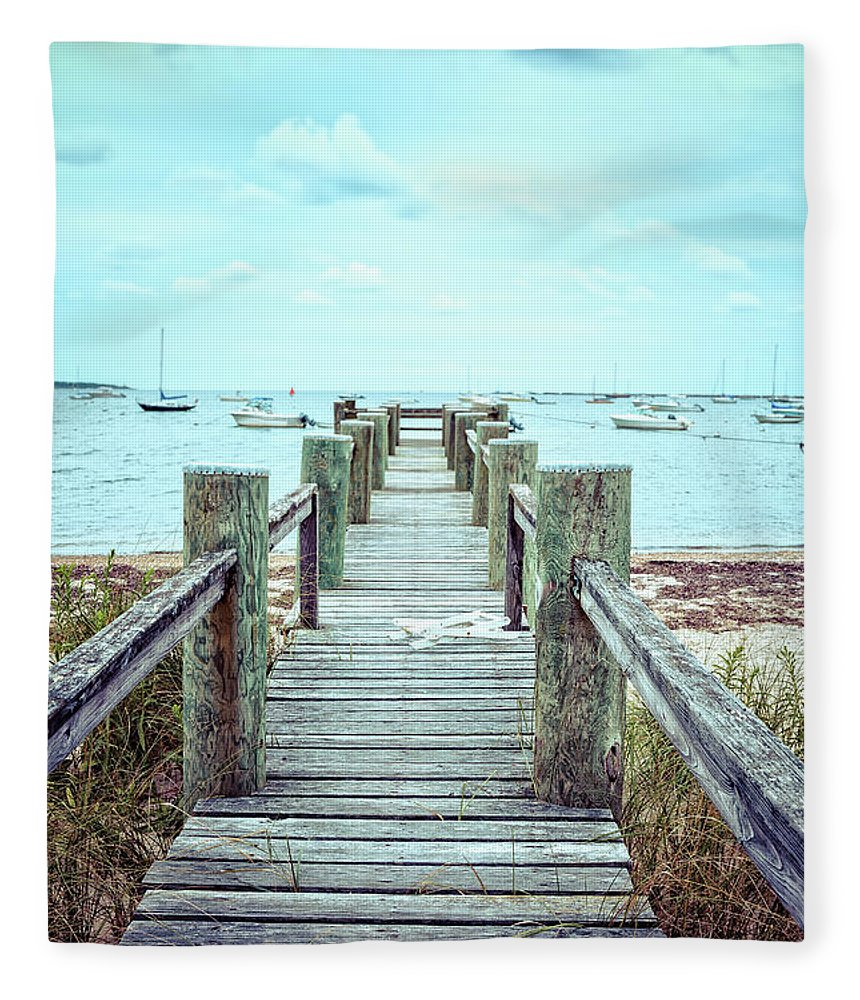 Dock Fleece Blanket featuring the photograph Old Dock Hyannis Port Cape Cod Ma by Edward Fielding