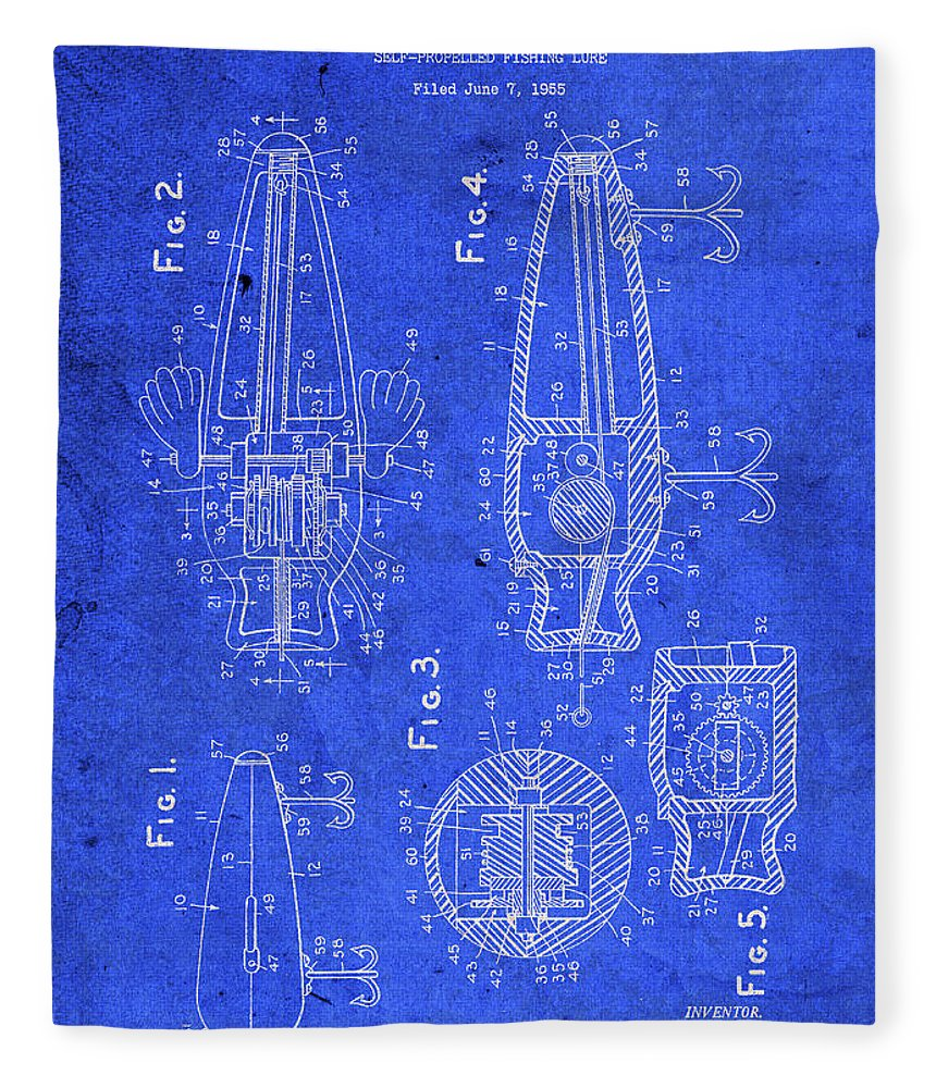 Old Fleece Blanket featuring the mixed media Old Fishing Lure Vintage Patent Blueprint by Design Turnpike