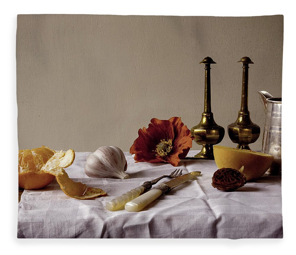 Orange Fleece Blanket featuring the photograph Old Kitchen Still Life by Pch