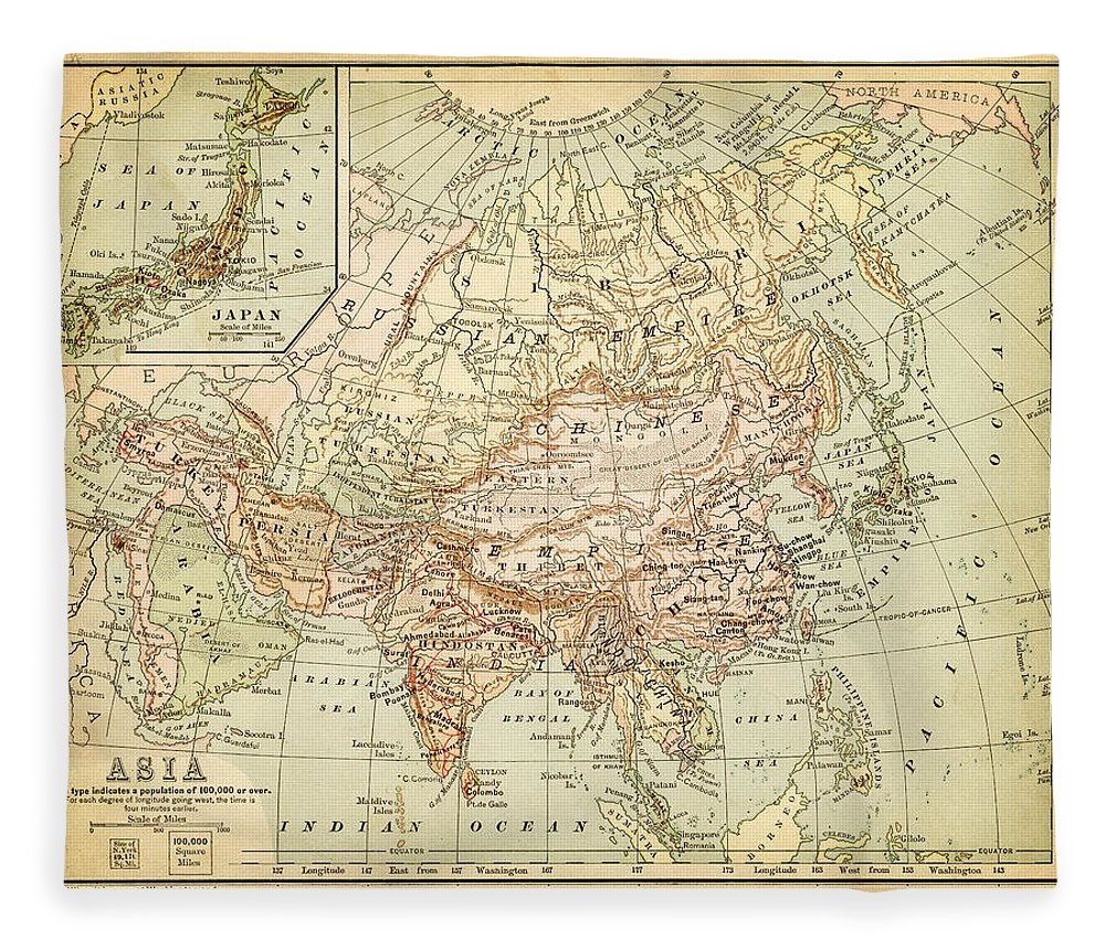 Burnt Fleece Blanket featuring the digital art Old Map Of Asia by Thepalmer