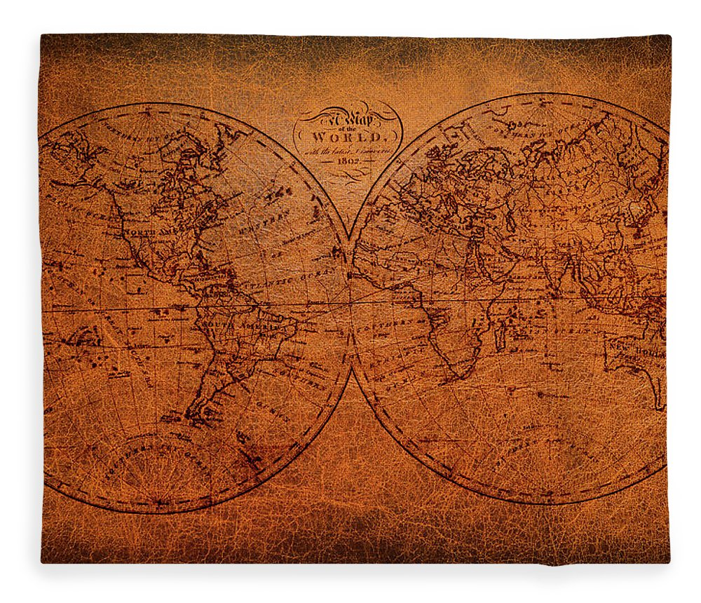 Old World Map Fleece Blanket featuring the mixed media Old World Map by Trevor Slauenwhite