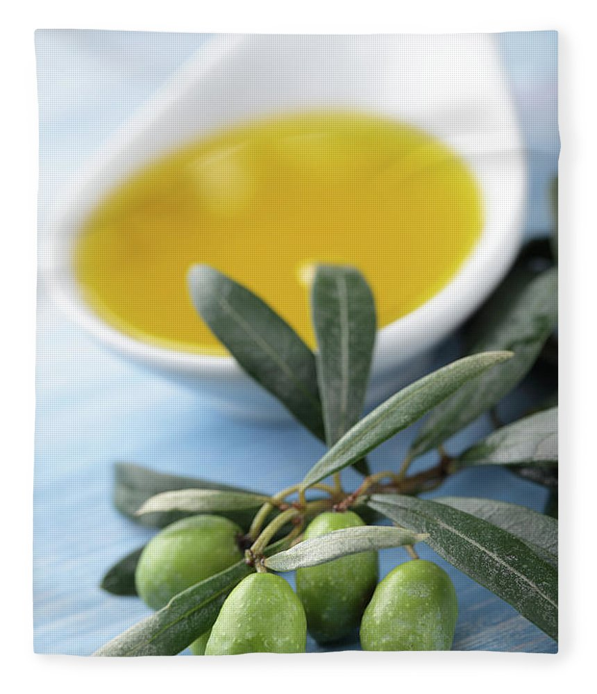 Close-up Fleece Blanket featuring the photograph Olive Oil by Lilyana Vinogradova